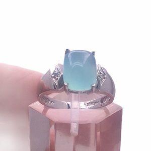 14k white gold soft blue Chalcedony ring